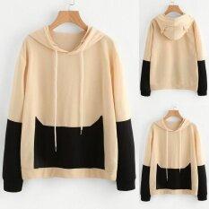 Women Long Sleeve Hooded Spliced Casual Hoodies Sweatshirt Pullover Tops L - Intl ราคา 472 บาท(-67%)