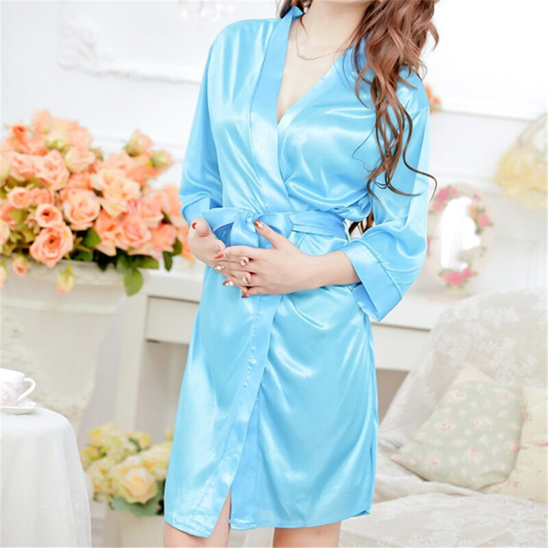 Women Sexy Faux Satin Lace Silk Underwear Lingerie Nightdress Sleepwear Robe Blue ...
