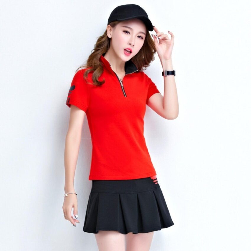 Women Tennis Badminton Suits With Polo Shirt Bottom Dress (Red Black) - intl ...