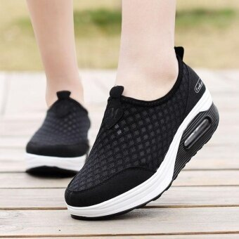 Womens Mesh Shoes Wedge Platform Sneakers Running Sport Casual Pull On Trainer Black - intl