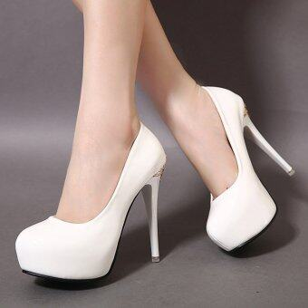 Women's Round Toe Platform Bridal High Heels Fashion Party Shoes White