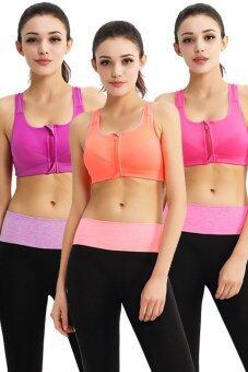 Wonder Bra Sport Zip Bra Set 3ตัว 3สี (สีม่วง/สีชมพู/สีส้ม)