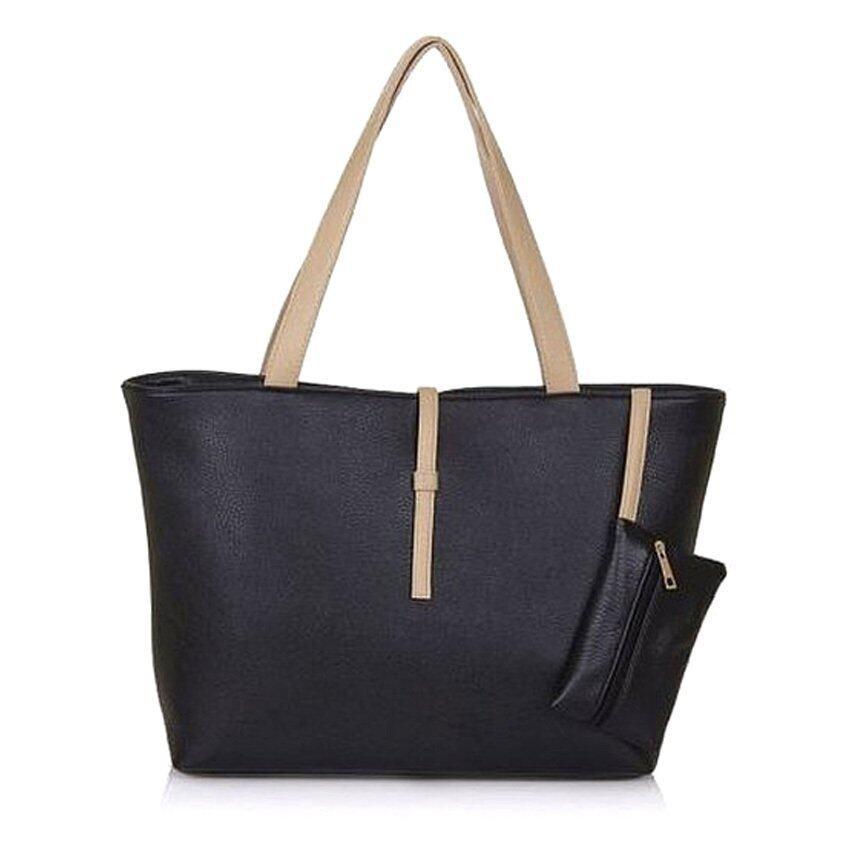 wonderful story Korean Summer Fashion PU Leather Tote Shoulder Handbag (Black)