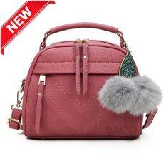 Wonderful story กระเป๋าสะพายข้าง กระเป๋าเป้ผ้าไนลอน SKN607 Premium PU Leather Crossbody Bag- (cameo )