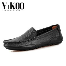 Yikoo Mens Fashion Cow Leather Driving Shoes Casual Slip-Ons & Loafers Formal Shoes (black) - Intl ราคา 693 บาท(-70%)