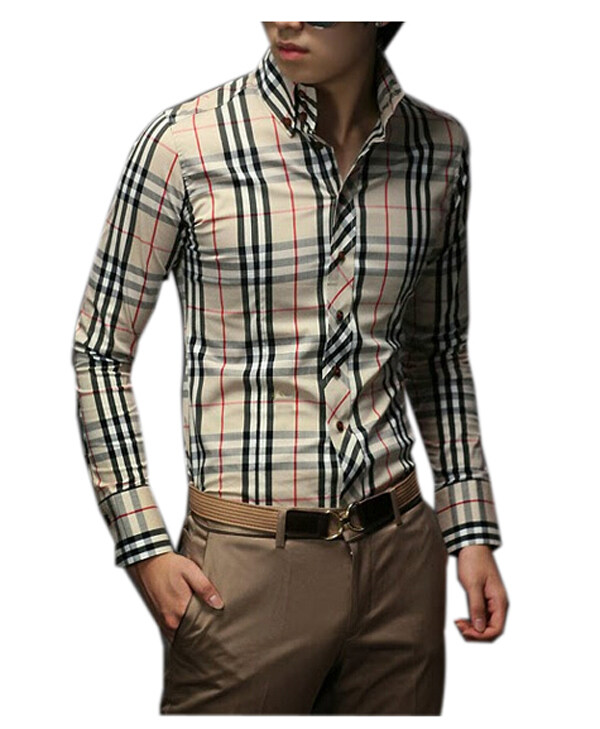 ZigZagZong Men Fashion Fitted Long Sleeve Button-Front Plaids Checks Shirts Tops Tee Beige ...