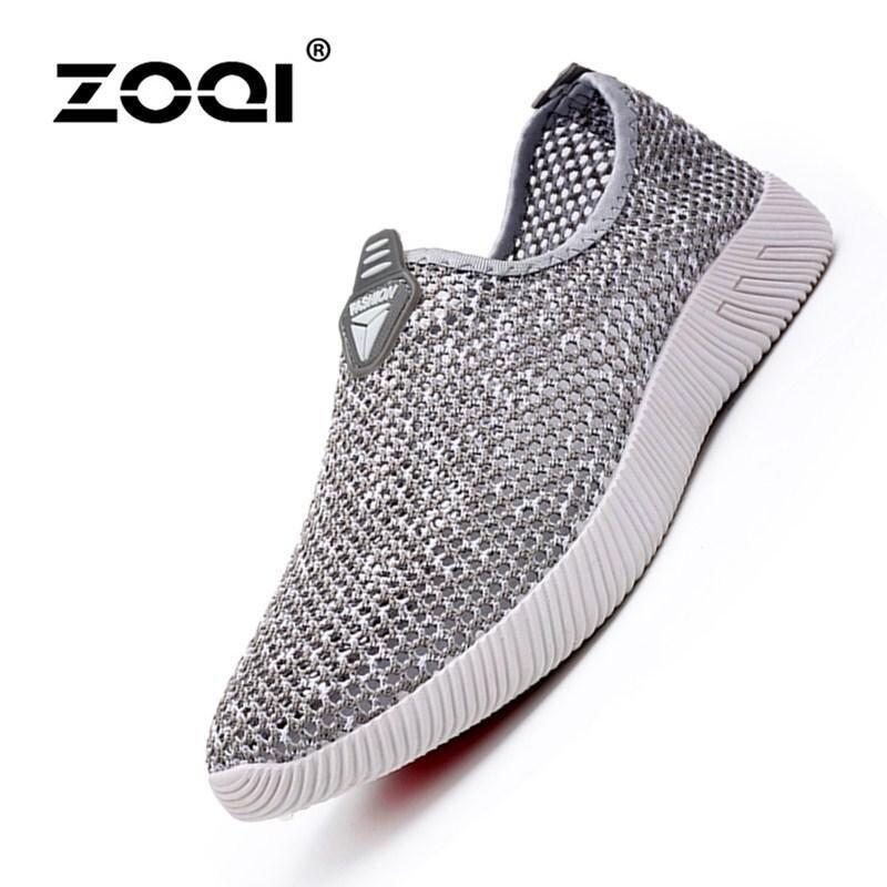 ZOQI Men's Fashion Mesh Shoes Light Running Shoes Casual Shoes (Grey) - intl