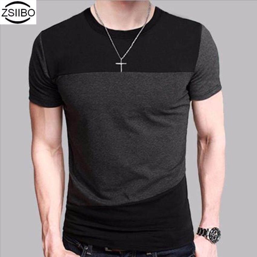 ZSIIBO เสื้อยืดคอกลม แขนสั้น (สีดำ-เทา) ...