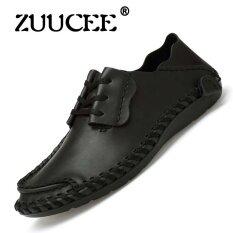 Zuucee Fashion Mens Casual Shoes Cowhide Driving Men Flat Shoes(black) - Intl ราคา 674 บาท(-70%)