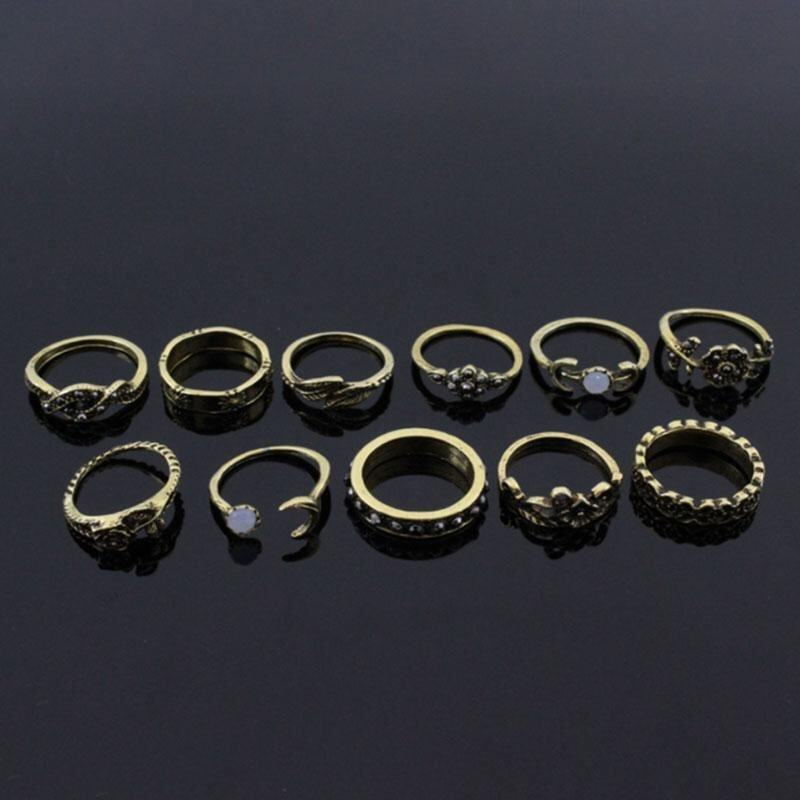 11Pcs Fashion Vintage Boho Moon Flower Leaf Midi Finger Rings Jewelry Gifts - intl ...