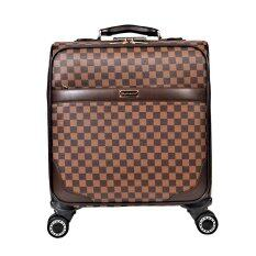 16 Inch Antique Suitcase Carry-on Luggage Pu Leather Plaid Trolley Case for Travel - Intl ถูกๆ
