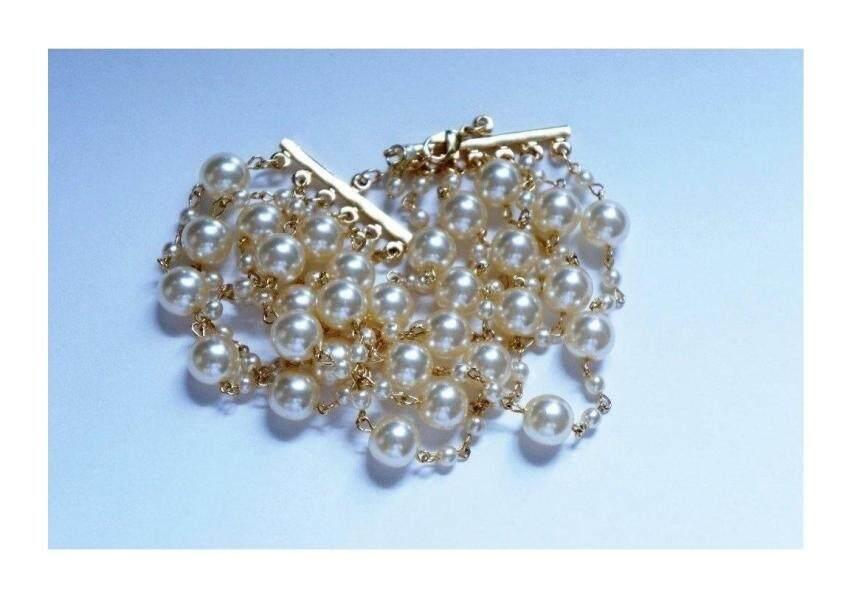 19.1cm Long 6 Row Glass Pearl Bracelet - intl ...
