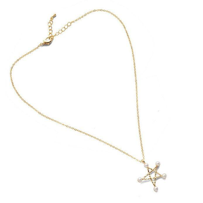 1pcs Women New Fashion Five-Pointed Star Pearl Pendant Necklace Golden- - intl .