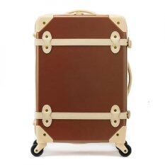 "20"" EDDAS Brown Luggage Spinner Wheel Vintage Hard Shell Suitcase EV501 (Brown) ถูกกว่าห้าง"