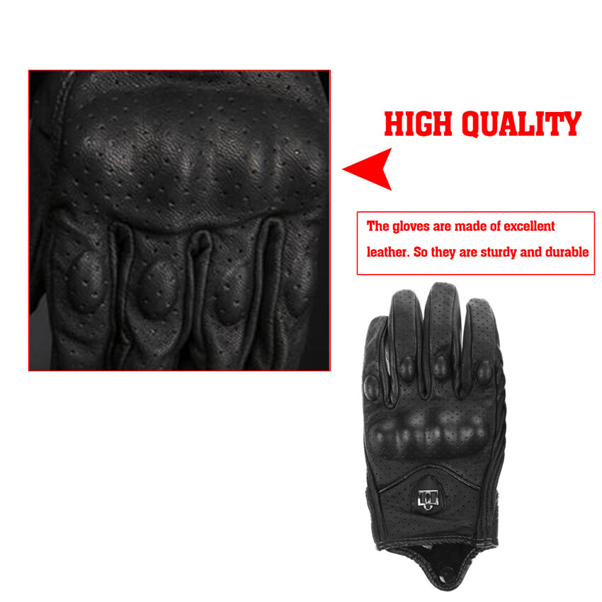 ขาย 2016 High Quality Men Motorcycle Gloves Outdoor Sports Full Finger Short Leather Gloves with hole Large(black)