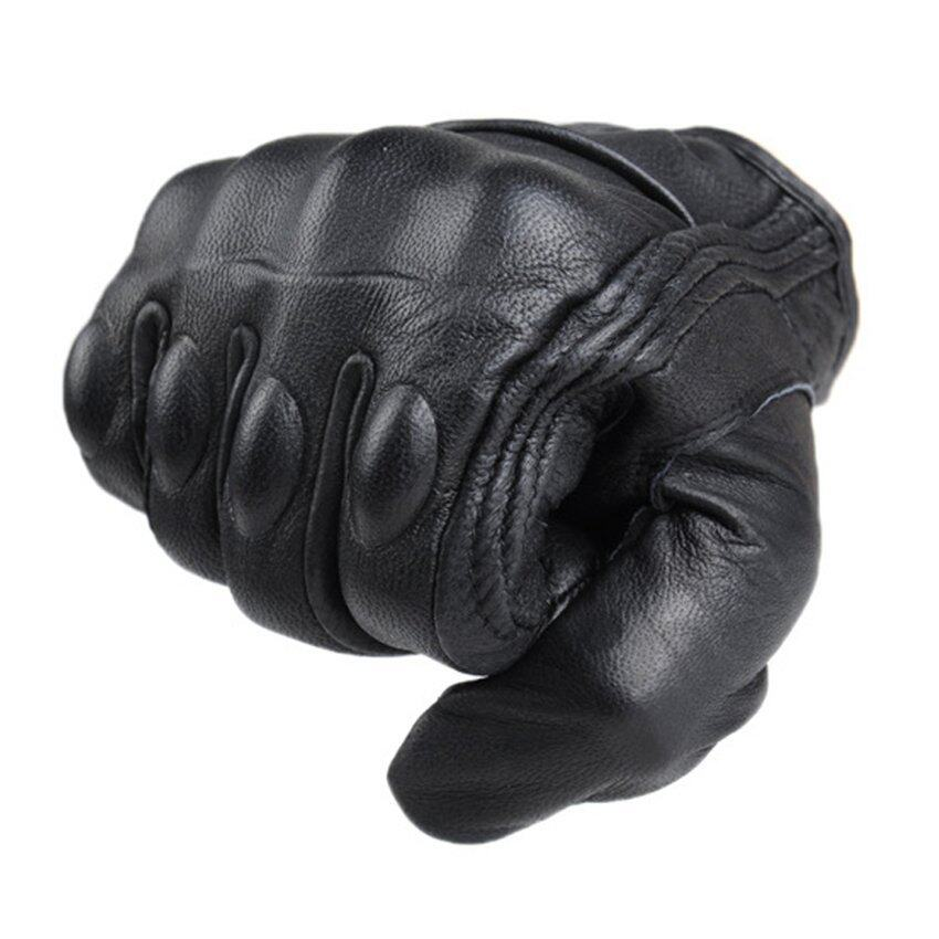 2016 High Quality Men Motorcycle Gloves Outdoor Sports Full Finger Short Leather Gloves without hole XL(black)