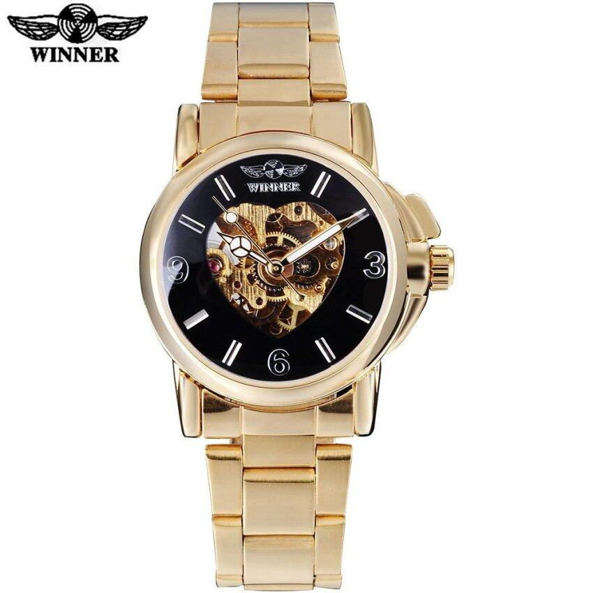 2016 WINNER famous brand women watch fashion automatic self wind watch skeleton pink dia ...