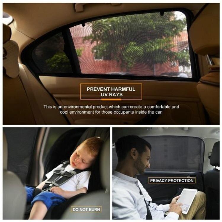 2Pcs Car Door Window UV Protection Shield Sun Shade Visor Cover Universal Black - intl