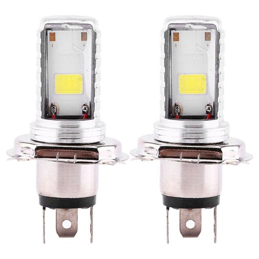 2pcs Motorcycle Motorbike H4 COB LED Headlight High/Low Beam Front Light Lamp Bulb White - intl