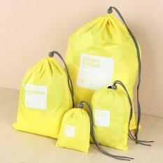 2Sers Each 4Pcs Waterproof Nylon Travel Storage Bag Luggage Packing Set Yellow - intl ลดราคา