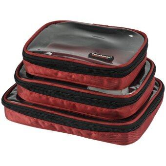 3-in-1 Portable Hanging Wash bag Toiletry Bag for Traveling Business Trip Camping (Red)