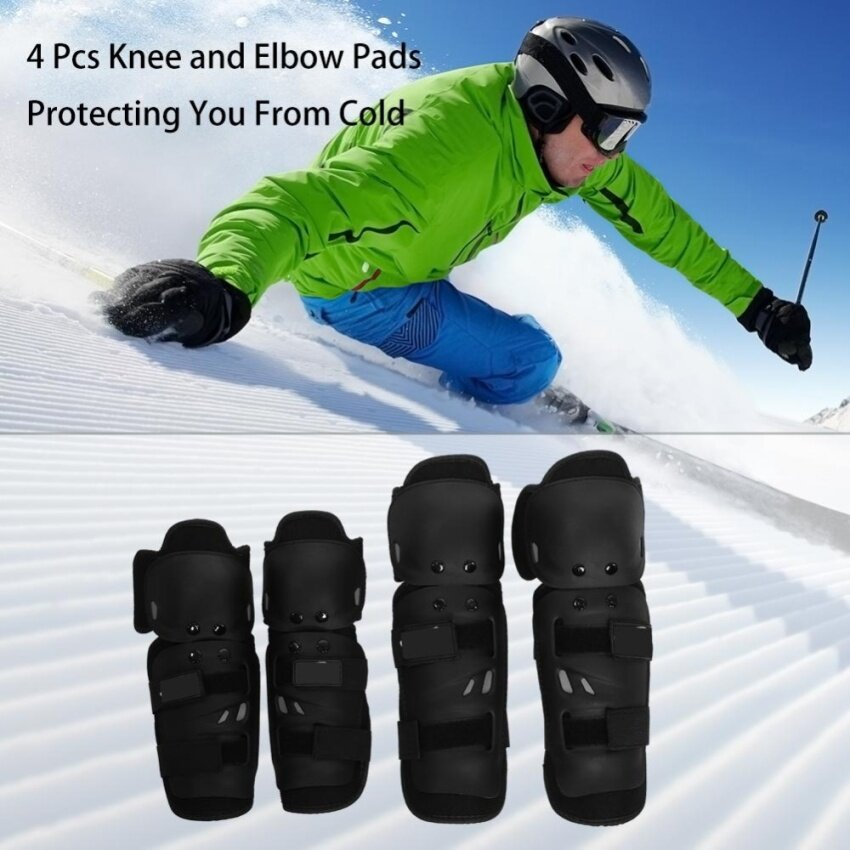 4 pcs Motorcycle Motocross Cycling Elbow and Knee Pads Protector Shin Guard Armors Set Black - intl