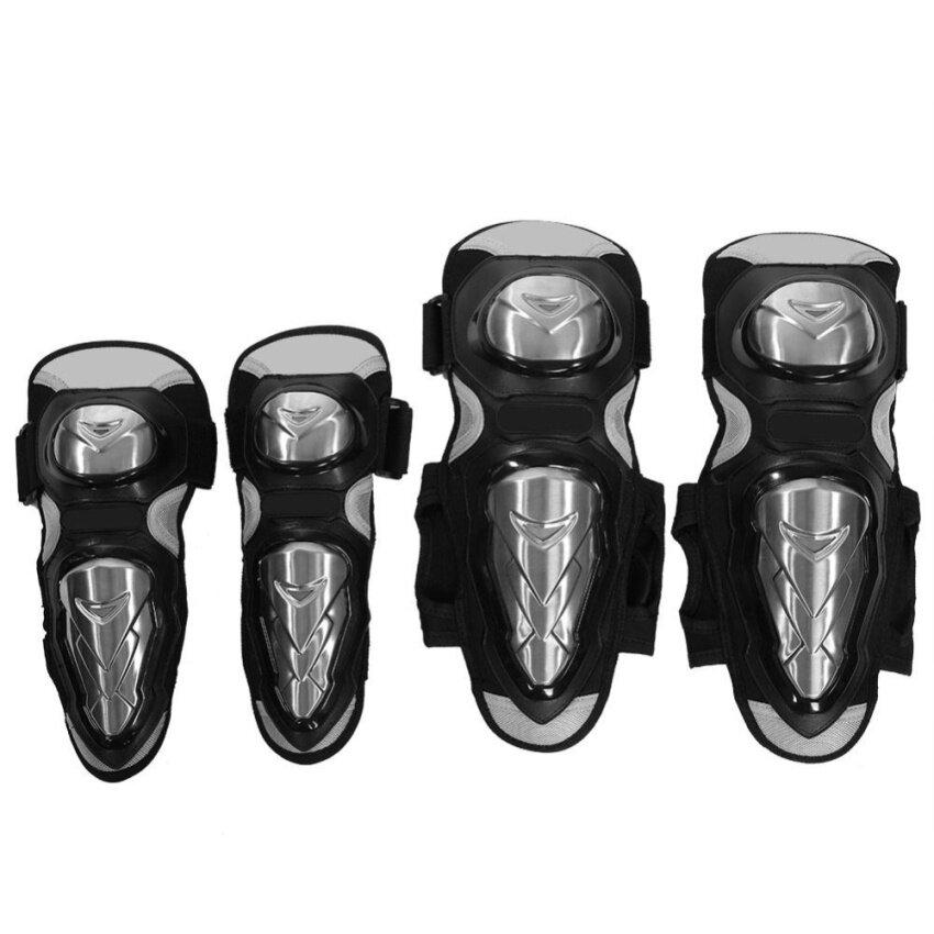 4 pcs Motorcycle Motocross Cycling Elbow and Knee Pads Shin Guard Protective Armors Set Black - intl