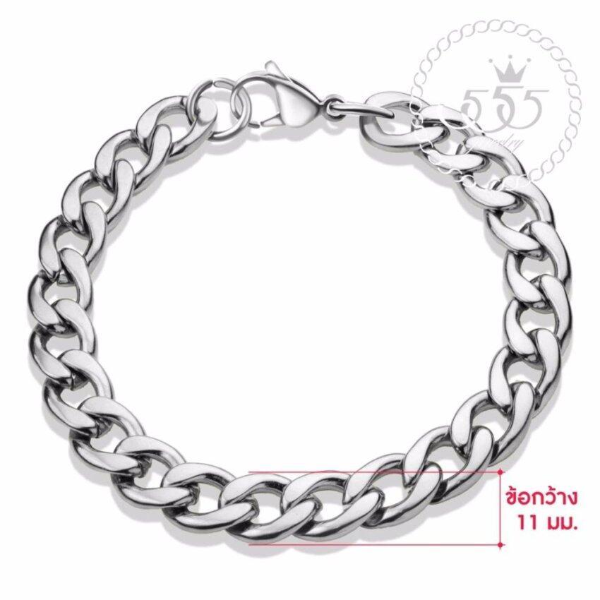 555jewelry 316L Braceletสร้อยข้อมือผู้ชาย รุ่น FSBR11-A (สี Steel) ...