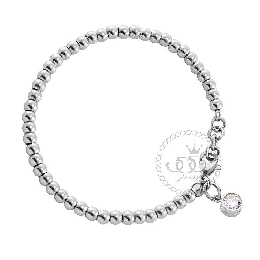 aaa 555jewelry สร้อยข้อมือ สแตนเลสสตีล ประดับ ชาร์ม CZกลมสีขาวเป็นประกาย รุ่น MNC-BR302-A (สี สตีลเงิน) Sbobet