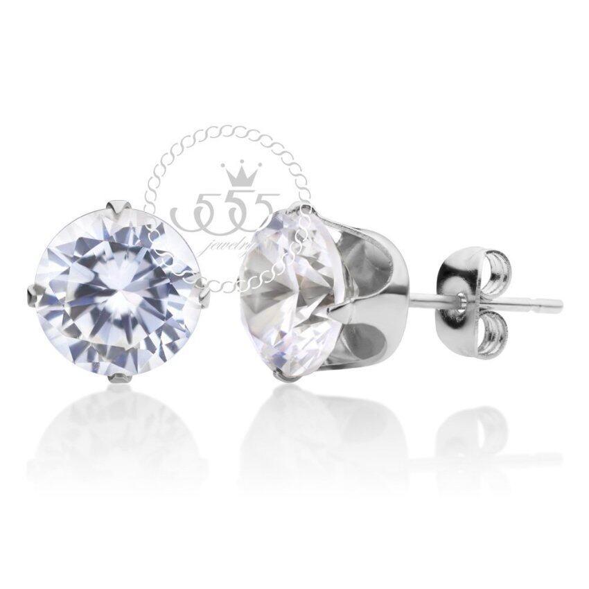 555jewelry Stainless Steel 316L ต่างหูสำหรับสุภาพสตรี รุ่น MNC-ER430-A (Steel) ...