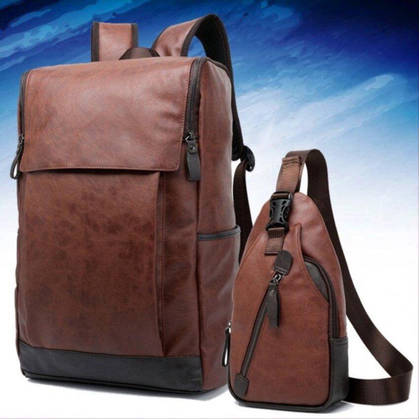 9sabuy Kenbo ชุด กระเป๋าเป้ กระเป๋าคาดไหล่ กระเป๋าคาดอก กระเป๋าหนัง กระเป๋าสะพาย กระเป๋าเดินทาง Notebook Backpack bag Premium สีน้ำเงิน (ฺBlue) BE3
