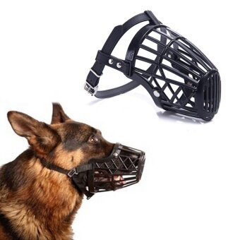 Black Adjustable Basket Mouth Muzzle Cover For Dog Training Bark Bite Chew Control Useful Black Size 2h - intl