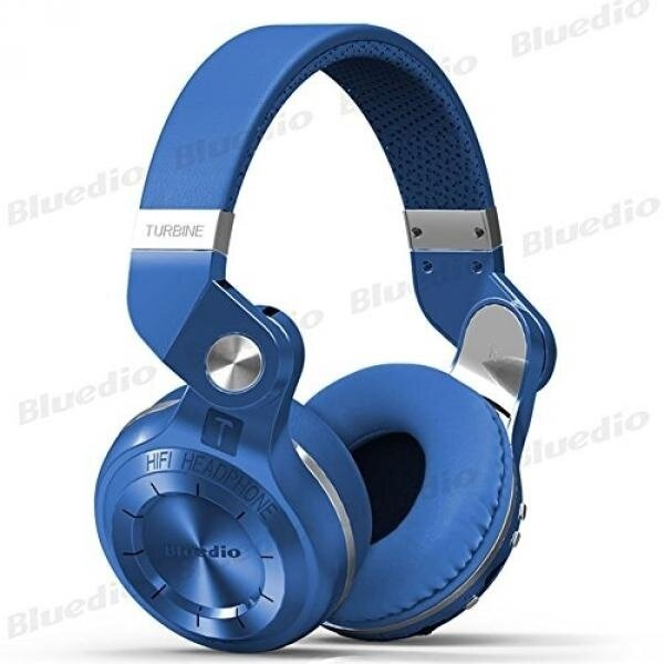 Bluedio T2 Plus Turbine 195° Rotary Foldable Super Bass Wireless Headset Bluetooth Over-ear Headphones with Mic/Micro SD Card Slot/FM Radio DJ For Iphone Samsung HTC LG Tablet Gift Package (Blue) - intl