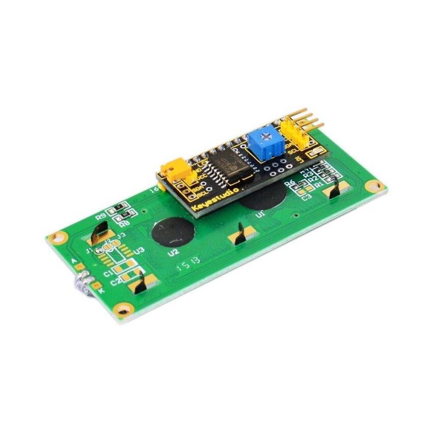 "Brand New Keyestudio 1602 I2C Module Compatible Board for Arduino - 2.6"" LCD Green + Black - intl"