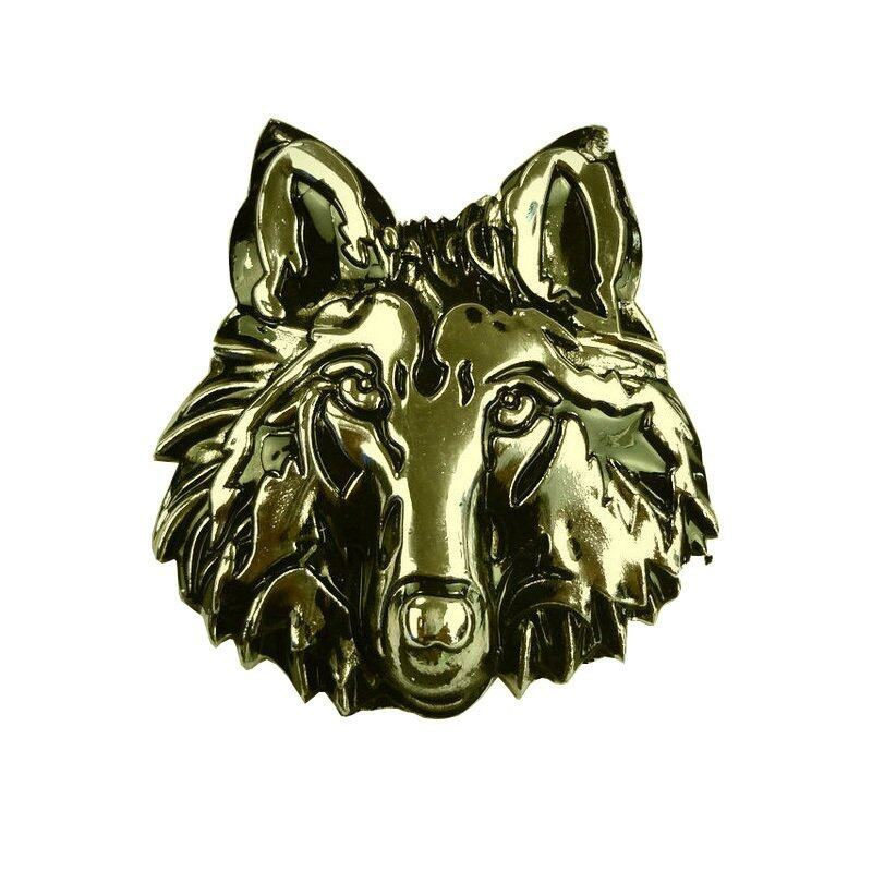 Car Decoration Stickers Personalized Car Stickers Metal Wolf Head Logo Gold