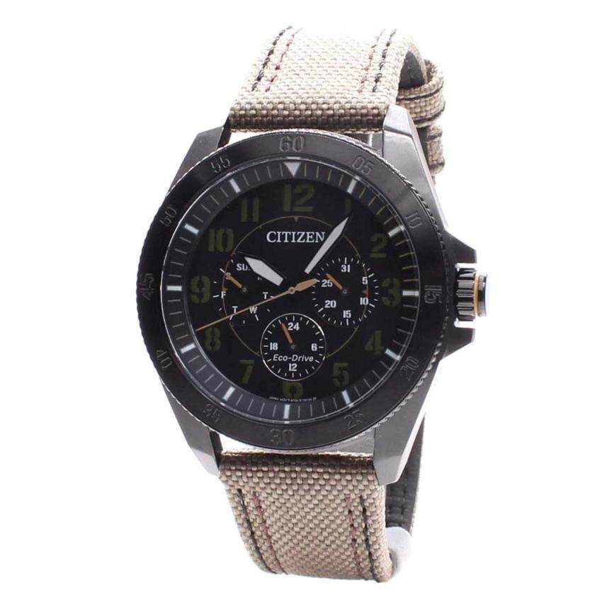Citizen Watch Eco-Drive Military Grey Stainless-Steel Case Leather Strap Mens Japan NWT  ...