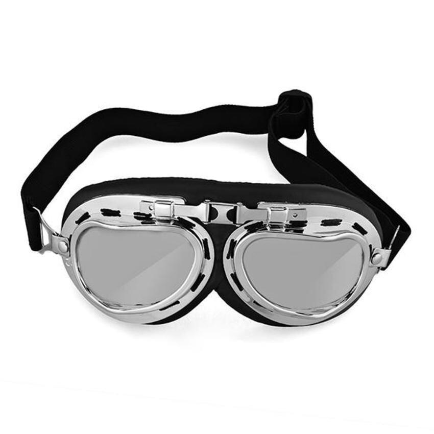 CTO Vintage Style Aviator Motorcycle Bike Goggles Helmet Glasses Protection (Black)