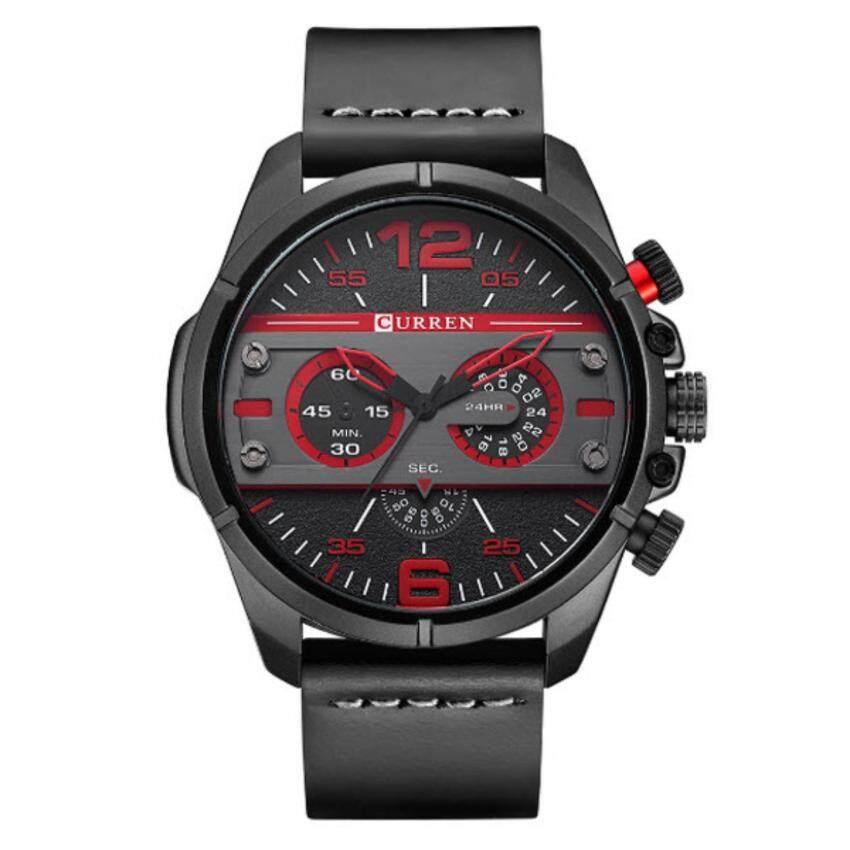 ด่วน Curren นาฬิกาข้อมือผู้ชาย สายหนังสีดำ หน้าปัดสีดำ/แดง รุ่นC8259(Black) กำลังลดราคา