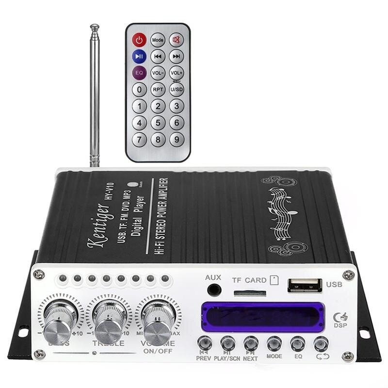 DC 12V 5A Bluetooth Hi-Fi Wireless Class-AB Audio Power Amplifier Built-in Circuit with Remote Control ( Black) - intl