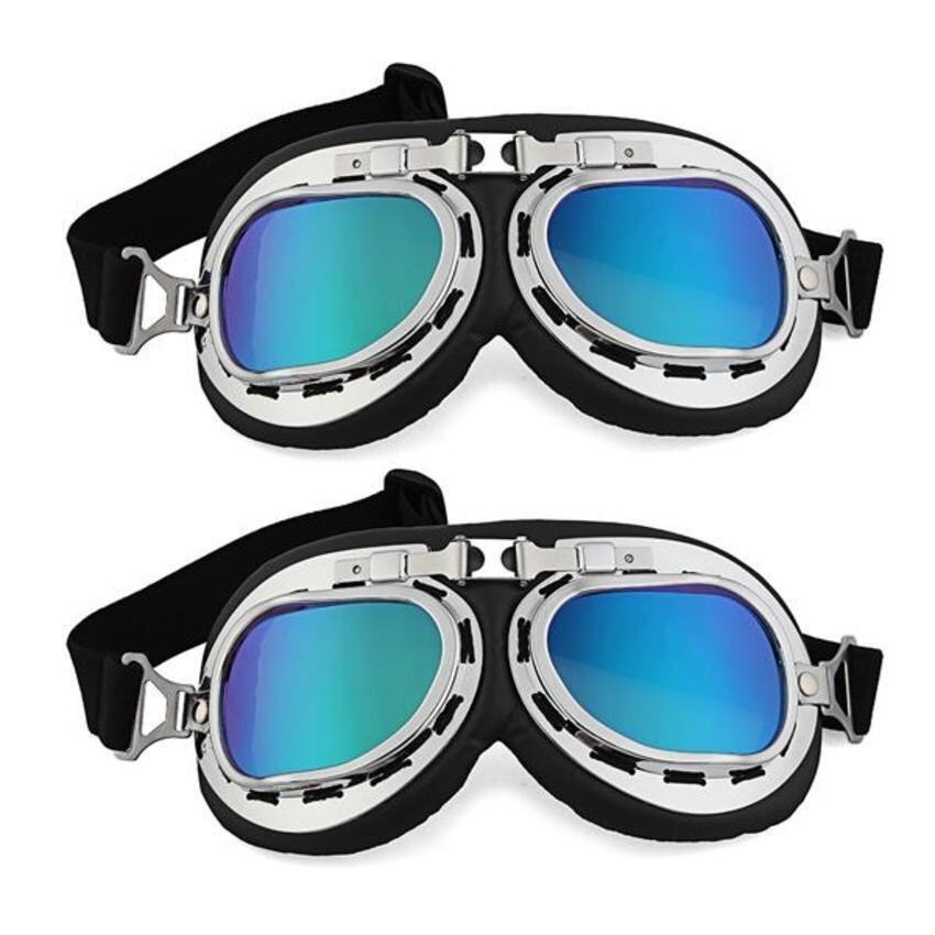 DHS 2x Motorcycle Helmet Windproof Glasses Goggles ColorfulLens)