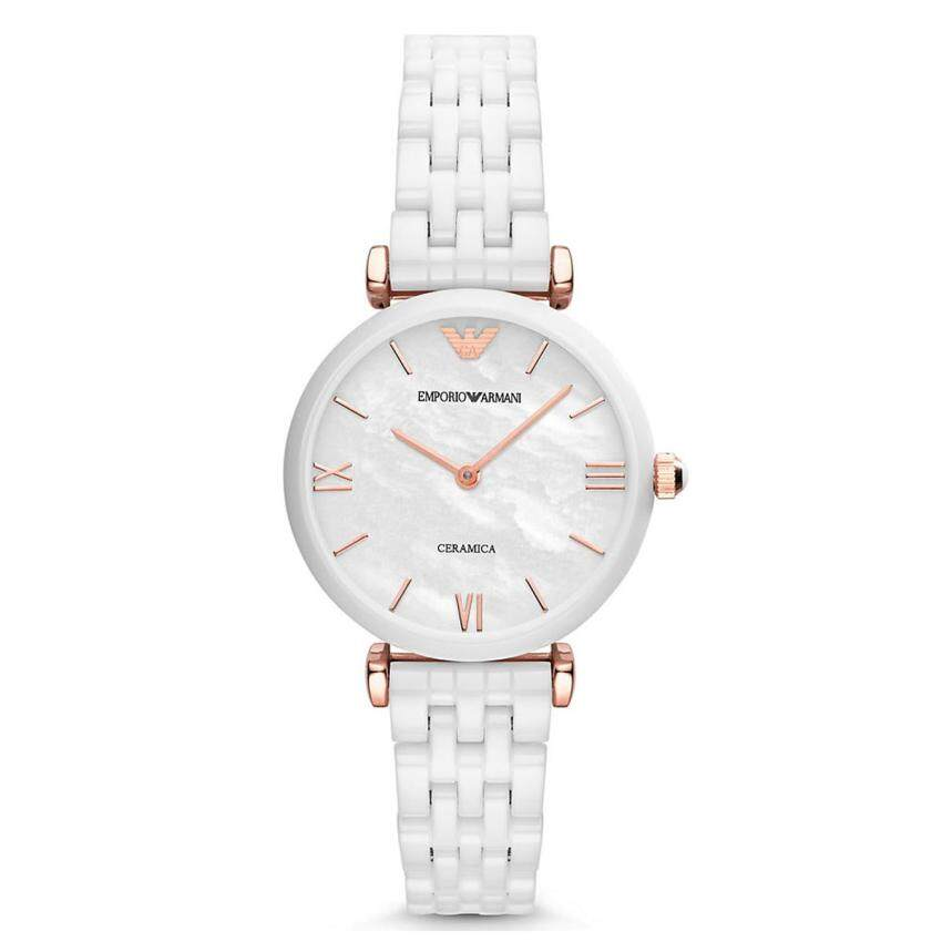 Emporio Armani Watch Ceramica White Ceramic Case Ceramic Bracelet Ladies Swiss NWT + War ...
