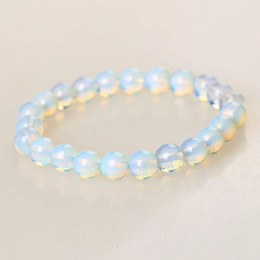 Fancyqube New 8mm Round Crystal Moonstone Natural Stone Stretched Beaded Bracelet for Women - intl