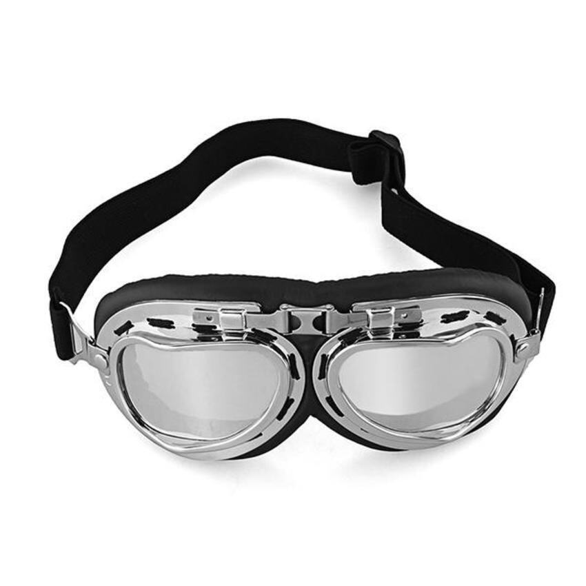 FSH Vintage Style Aviator Motorcycle Goggles Helmet Glasses Plating Silver Lenses