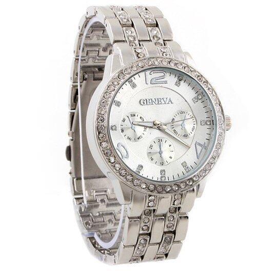 ด่วน Geneva นาฬิกาข้อมือผู้หญิง WP8502(Silver) พิเศษแถมซองนาฬิกาสวยหรู กำลังลดราคา