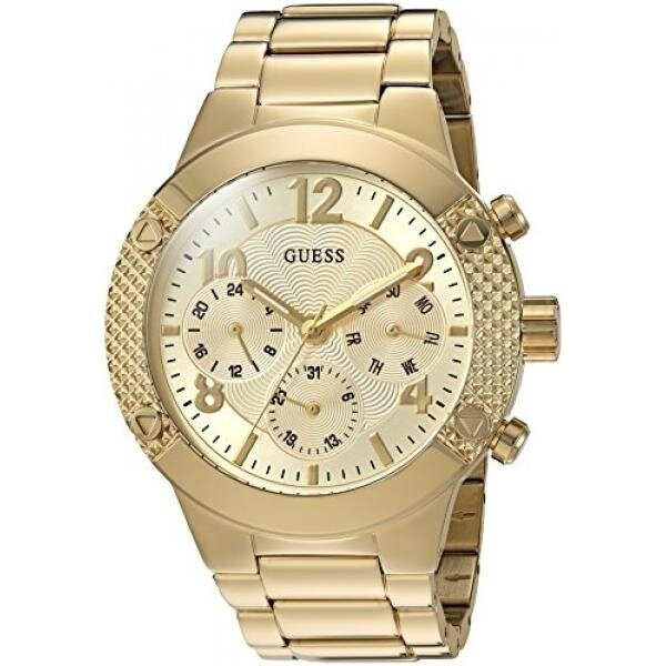 GUESS Womens U0849L2 Sporty Gold-Tone Stainless Steel Watch with Multi-function Dial and Pilot Buckle - intl