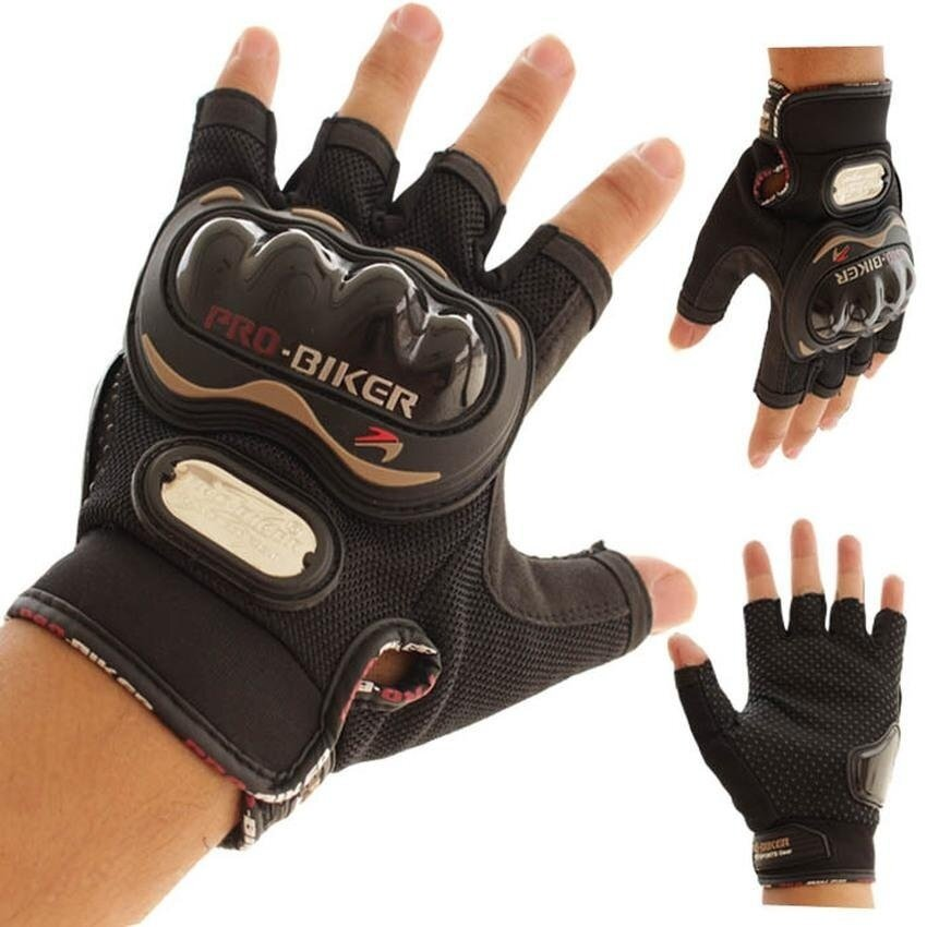 HUADE Motorcycle Gloves Probiker half-finger Racing motocrossmotorbike protective gear Motor gloves summer Men Dirt luvas paraBlackL-Black - intl