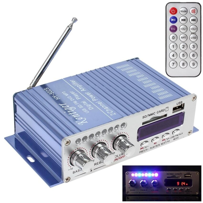 HY502S FM Audio + Car MP3 Speaker Bluetooth Amplifier HiFi Mini 2 Channel Digital Power Player with LED Light for iPod / Motorcycle - intl