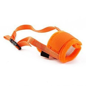 iBelieve Dog Pet Anti-biting Adjustable Size Chew Mesh Muzzle Mask(Orange,Size:S) - intl