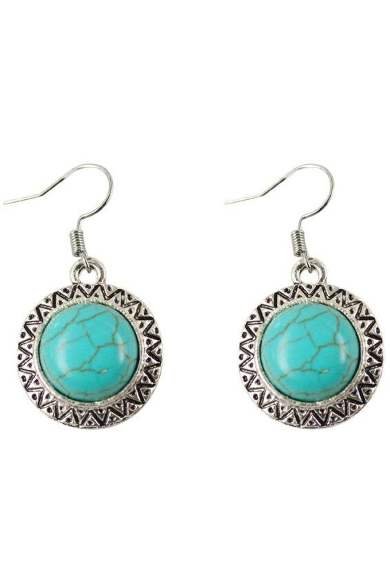 Jiayiqi Tibetan Silver Circular Lace Turquoise Drop Dangle Earrings- Intl ...