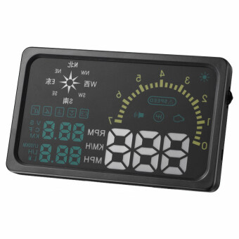 JinGle 6 Inches LED OBD II HUD Head Up Display Over Speeding Warning indicator I6 plus Compass (Black)